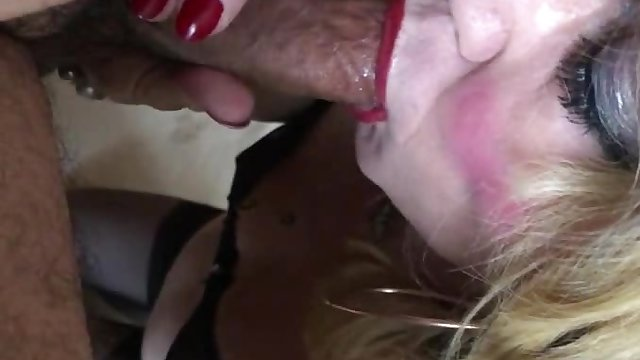 Feeding a mature cd with young cock and cum